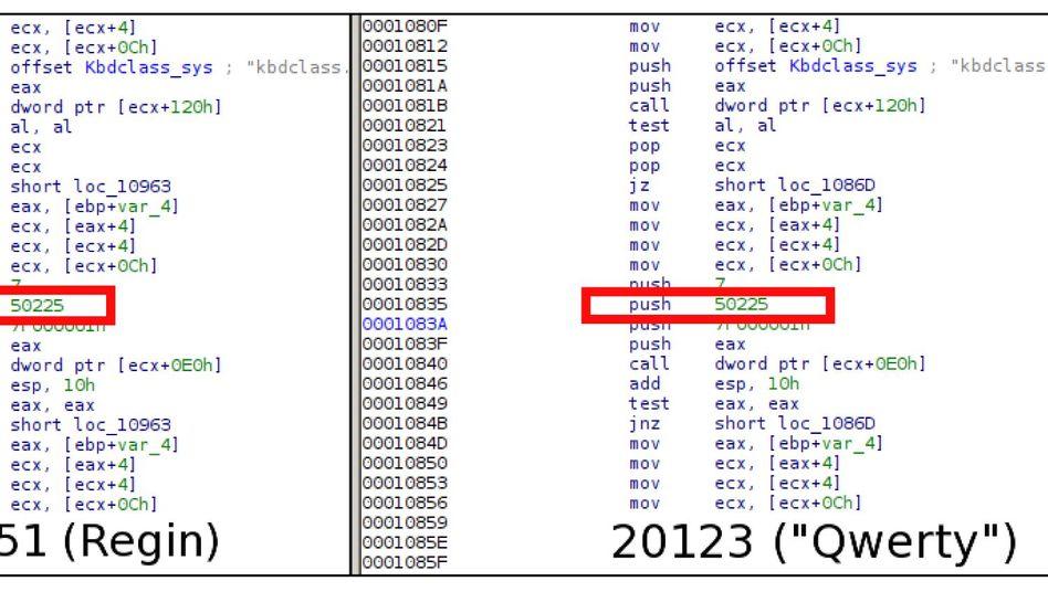 """Softwarecode im Vergleich: Links Trojaner """"Regin"""", rechts vom SPIEGEL veröffentlichter NSA-Code"""