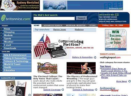 Frühe Britannica-Webpräsenz: taumelnde Experimente auf der Suche nach Refinanzierungswegen