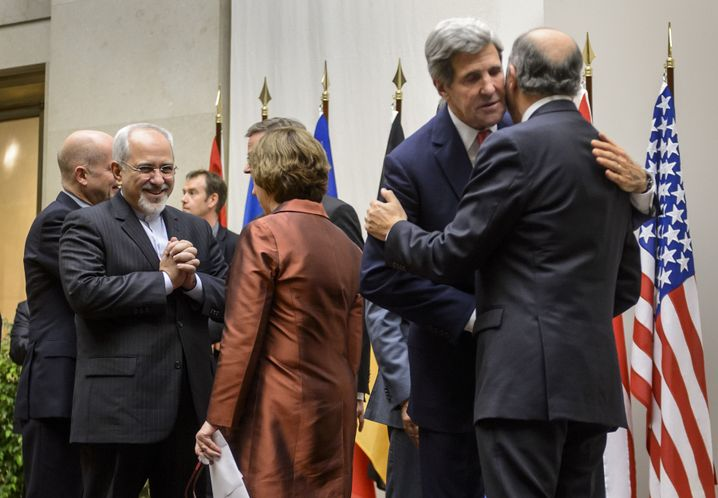 Nach der Einigung in Genf: Irans Außenminister Sarif, EU-Verhandlerin Ashton, US-Außenamtschef Kerry