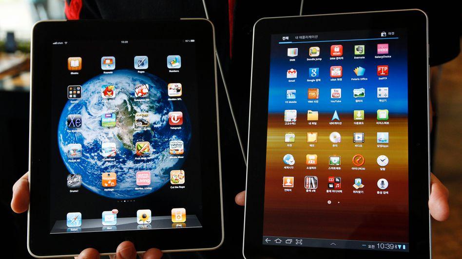 iPad von Apple, Galaxy Tab von Samsung: Auffällige Ähnlichkeit