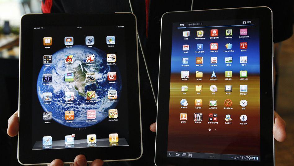 Links iPad, Rechts Galaxy Tab - oder doch umgekehrt? Apple wehrt sich gegen Samsung