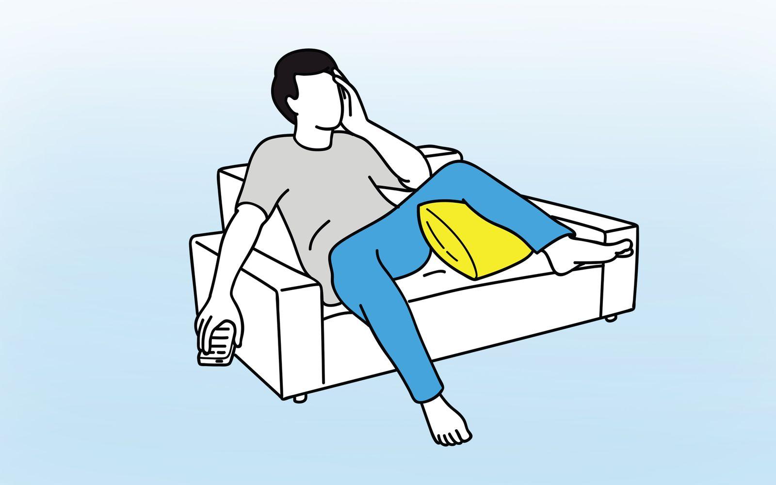 Man feel stressed at sofa