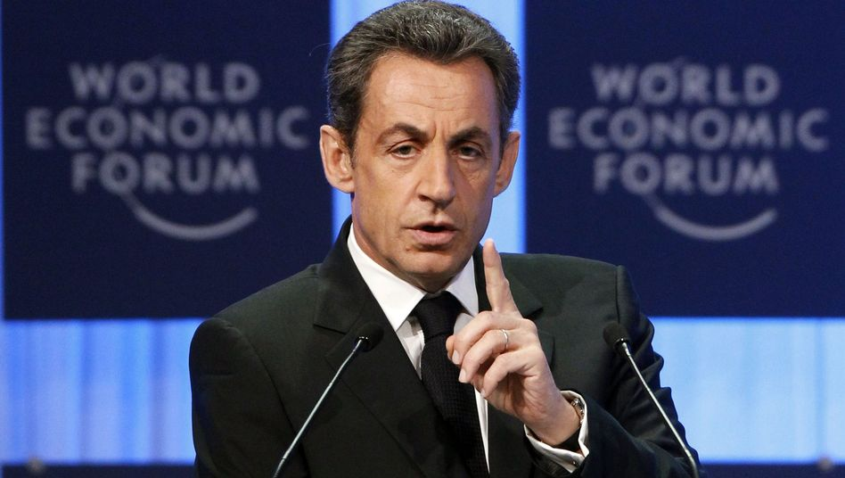 France's President Nicolas Sarkozy at Davos on Thursday.