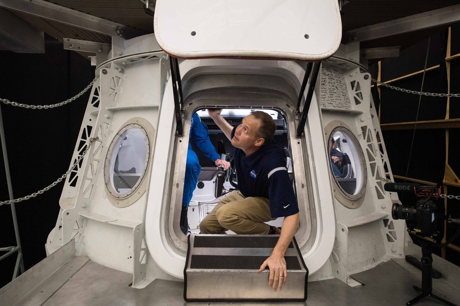 October 10, 2019, Hawthorne, CA, United States of America: NASA Administrator Jim Bridenstine, climbs out of a mockup o
