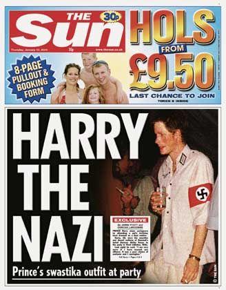"""Titelseite der """"Sun"""": """"Harry der Nazi"""""""
