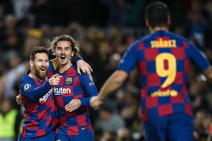 Sie alle sind inzwischen nicht mehr in Barcelona: Lionel Messi, Antoine Griezmann, Luis Suárez