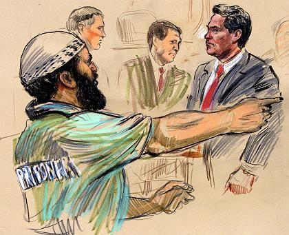 Gerichtszeichnung Moussaoui (l.), Anwälte: Auftrag von Bin Laden?