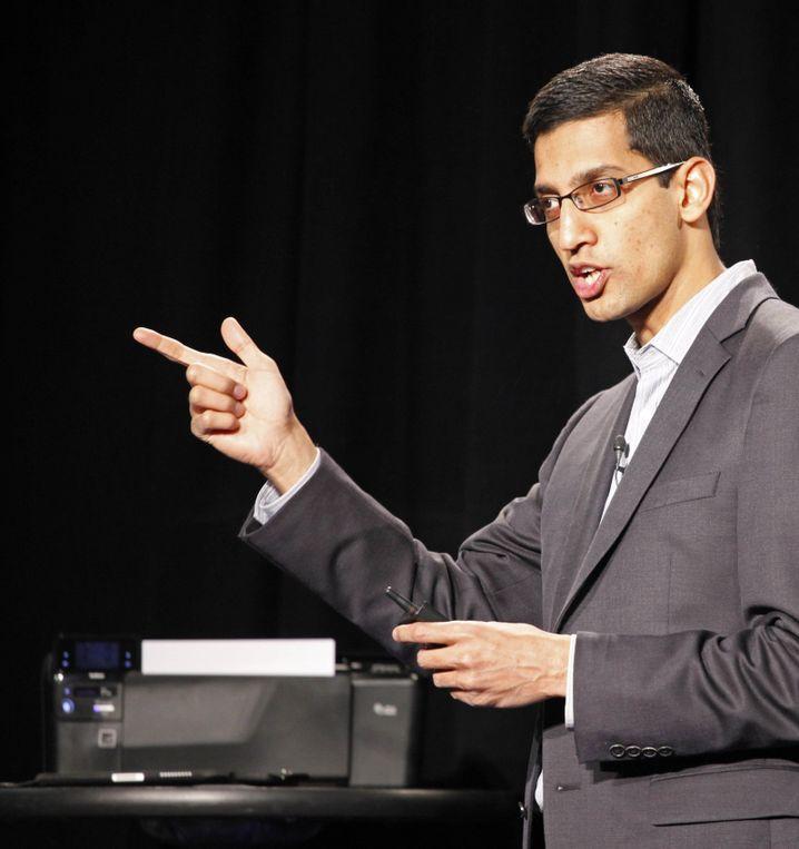 Sundar Pichai bei einem Auftritt im Jahr 2010. Damals war er bereits Vizepräsident des Produktmanagements