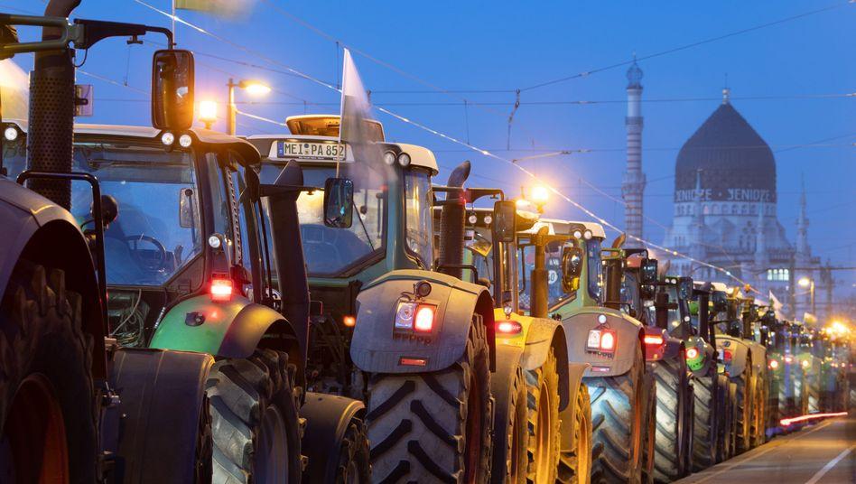 Traktoren in Dresden: Billiger Rohstofflieferant der Lebensmittelindustrie