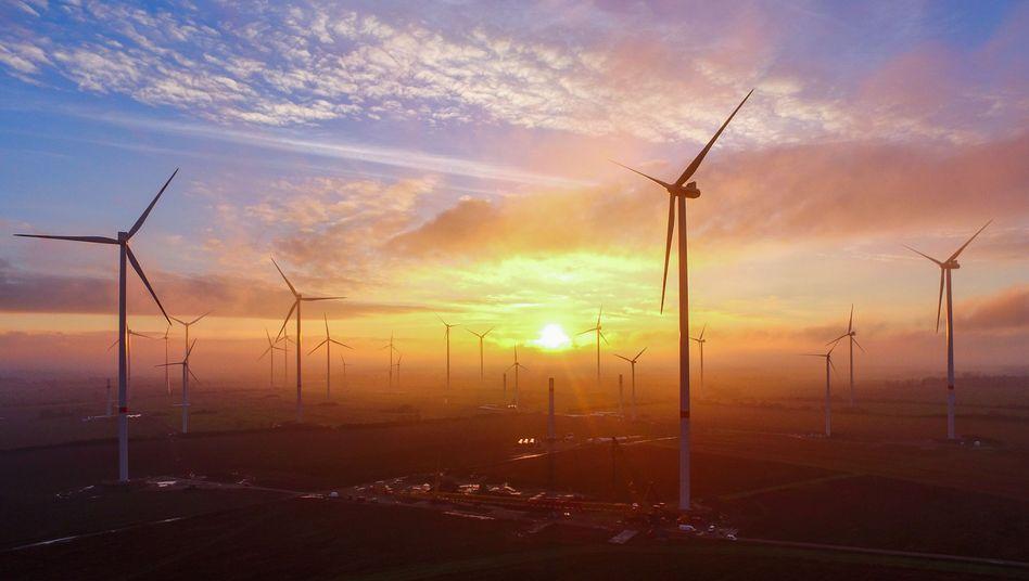 Windenergiepark nahe Sieversdorf in Brandenburg
