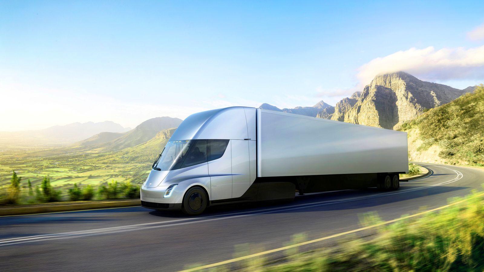 EINMALIGE VERWENDUNG Tesla Truck / Seitenansicht