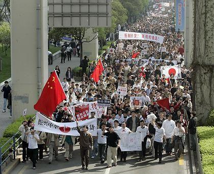Anti-Japanese demonstrators in Shanghai.