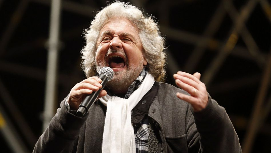 Five Star Movement leader and comedian Beppe Grillo speaks during a rally in Rome.