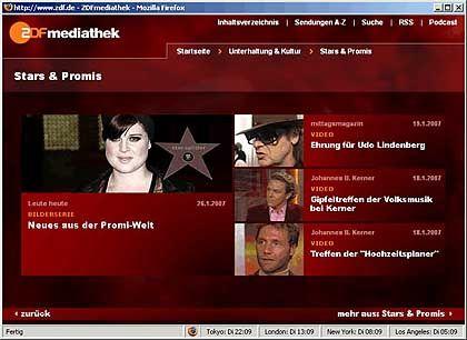 Promis, Infos, Unterhaltung: Die Mediathek des ZDF