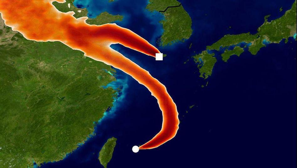 Simulation der Gaswolken über Ostasien
