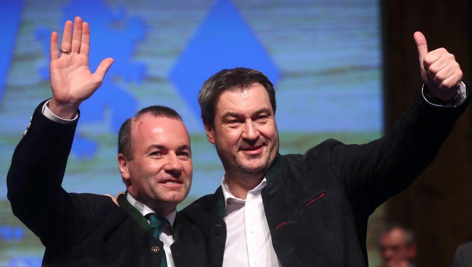 CSU-Politiker Weber, Söder (v. l.)
