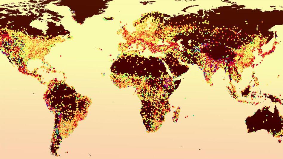 Temperaturen im Sommer: Die gelben und roten Punkte stehen für Städte, in denen es deutlich wärmer ist als auf dem Land