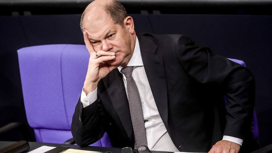 Olaf Scholz während einer Debatte im Bundestag (Archiv): Seine Kandidatur als SPD-Chef löst auch bei Anhängern der Sozialdemokraten nur wenig Begeisterung aus