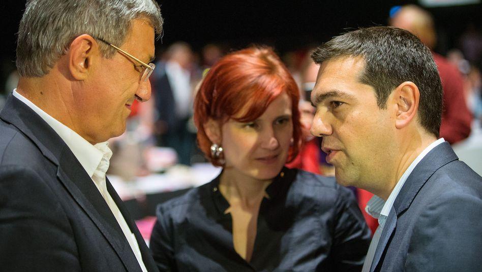 Linken-Chefs Riexinger, Kipping mit Tsipras (im Mai 2014): Bloß keine Kritik am Athener Bündnis
