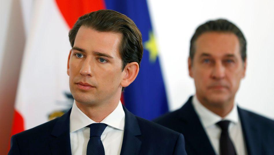 Österreichs Bundeskanzler Sebastian Kurz und sein Vizekanzler Heinz-Christian Strache