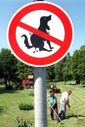 Hundekot-Verbotsschild: Niemals soll hier nicht gehäuft werden!