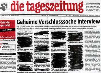 """taz""-Ausgabe mit geschwärztem Scholz-Interview: ""Betrug am Leser"""