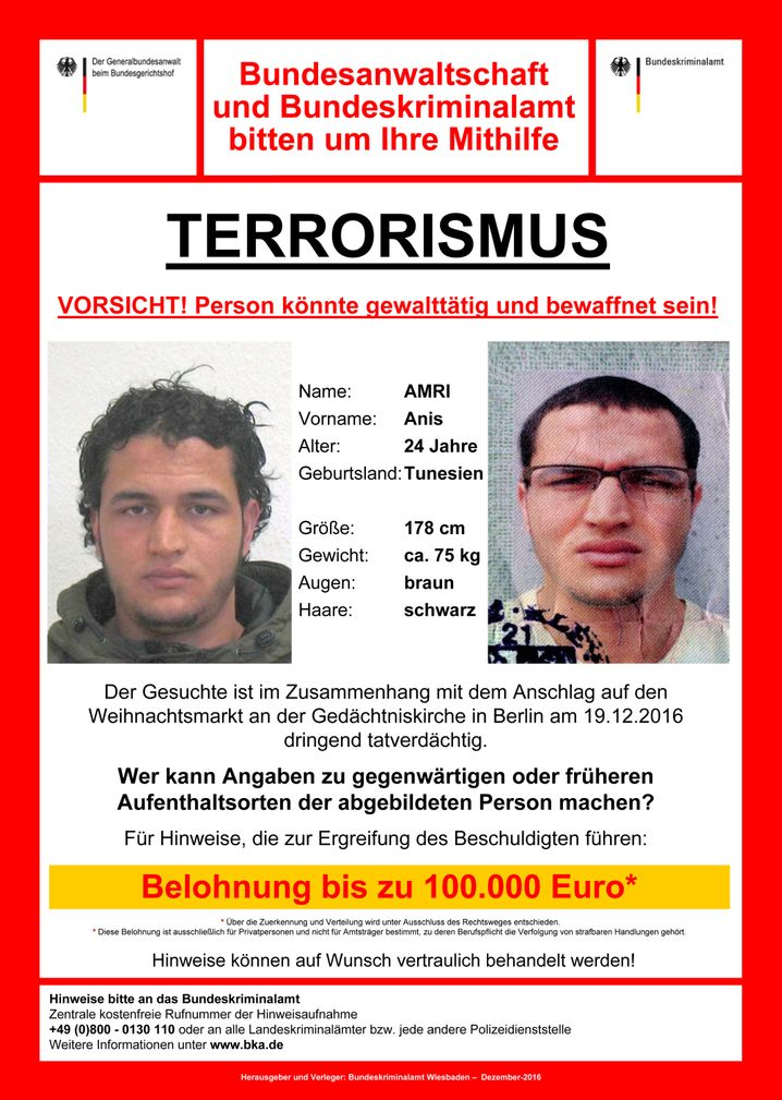 Wanted man: a handout on Anis Amri supplied by Germany's Federal Office of Criminal Investigation