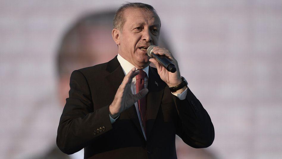 Präsident Erdogan vor Anhängern in Istanbul: Zorn auf Journalisten