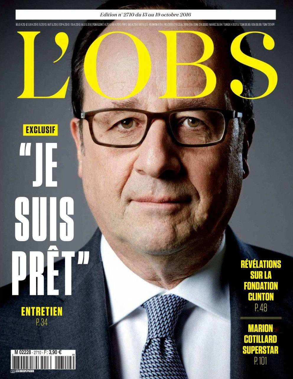 NUR ALS ZITAT! / EINMALIGE VERWENDUNG Hollande / Buch / 2016 / L`OBS Cover