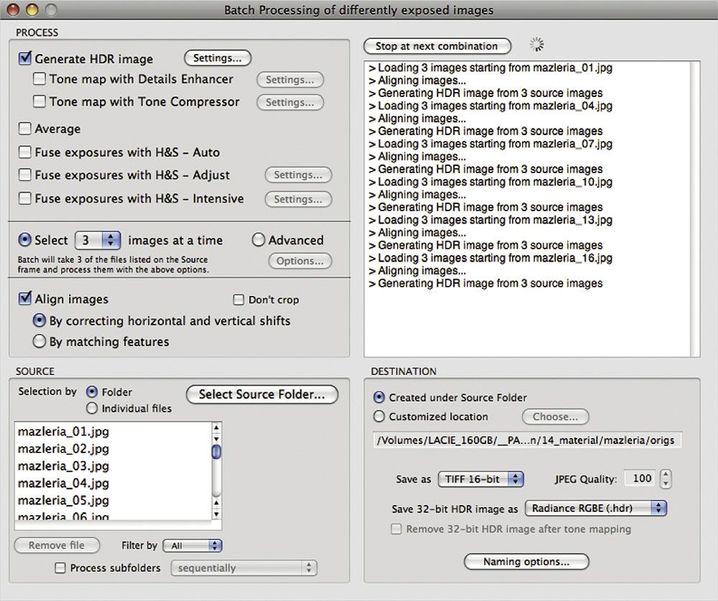 Stapelverarbeitung: Photomatix Pro verarbeitete mehrere Aufnahmen für HDR-Serien
