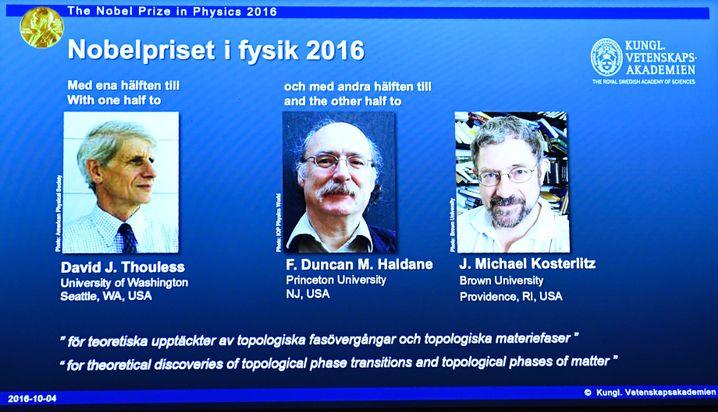Gewinner in Physik: David Thouless, Duncan Haldane und Michael Kosterlitz