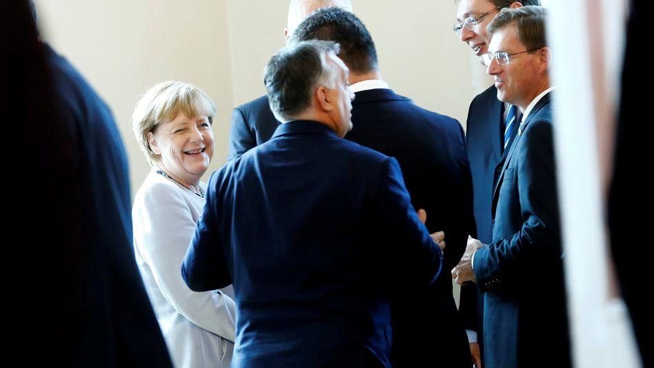 Kanzlerin Merkel, Premierminister Ungarns, Serbiens und Sloveniens Orbán, Vukic und Cerar (von l. nach r.)