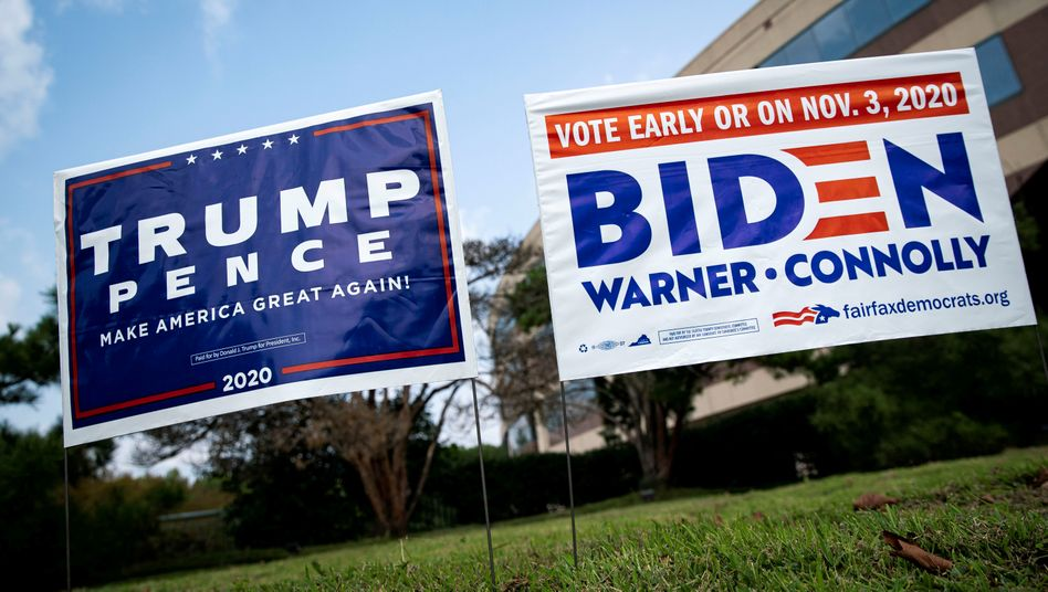 Wahlplakate in Fairfax, Virginia: Weniger unentschiedene Wählerinnen und Wähler als 2016