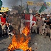 Many Muslims, as seen here in Pakistan in 2006, were not pleased about the Muhammad cartoons.