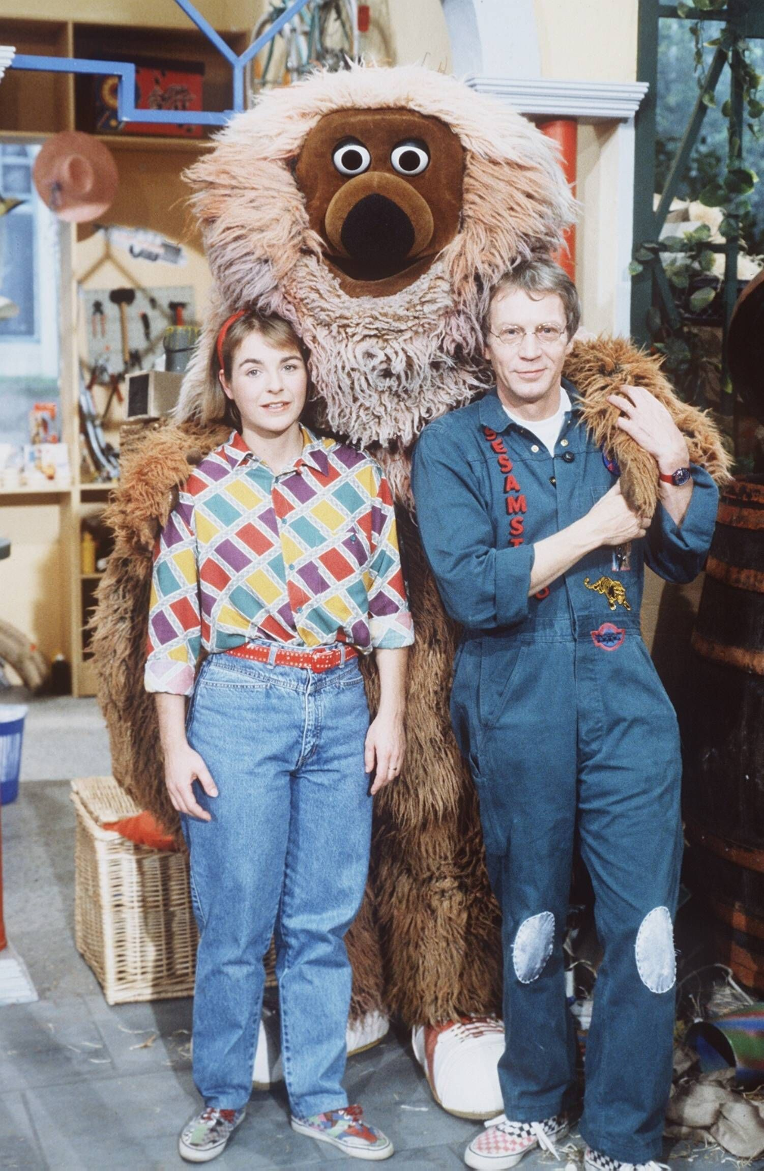 Sesamstraße (v. li.) K. Sprick, Samson, G. Endemann 11/91 dar Fernsehen Serie Puppe TV-Produktion Sesamstraße ARD Samso