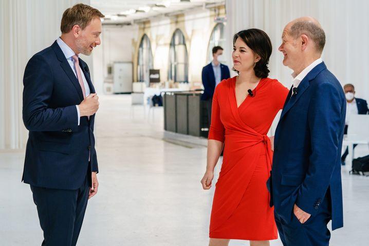 Die künftige Ampelkoalition? Lindner, Annalena Baerbock (Grüne) und Olaf Scholz (SPD)
