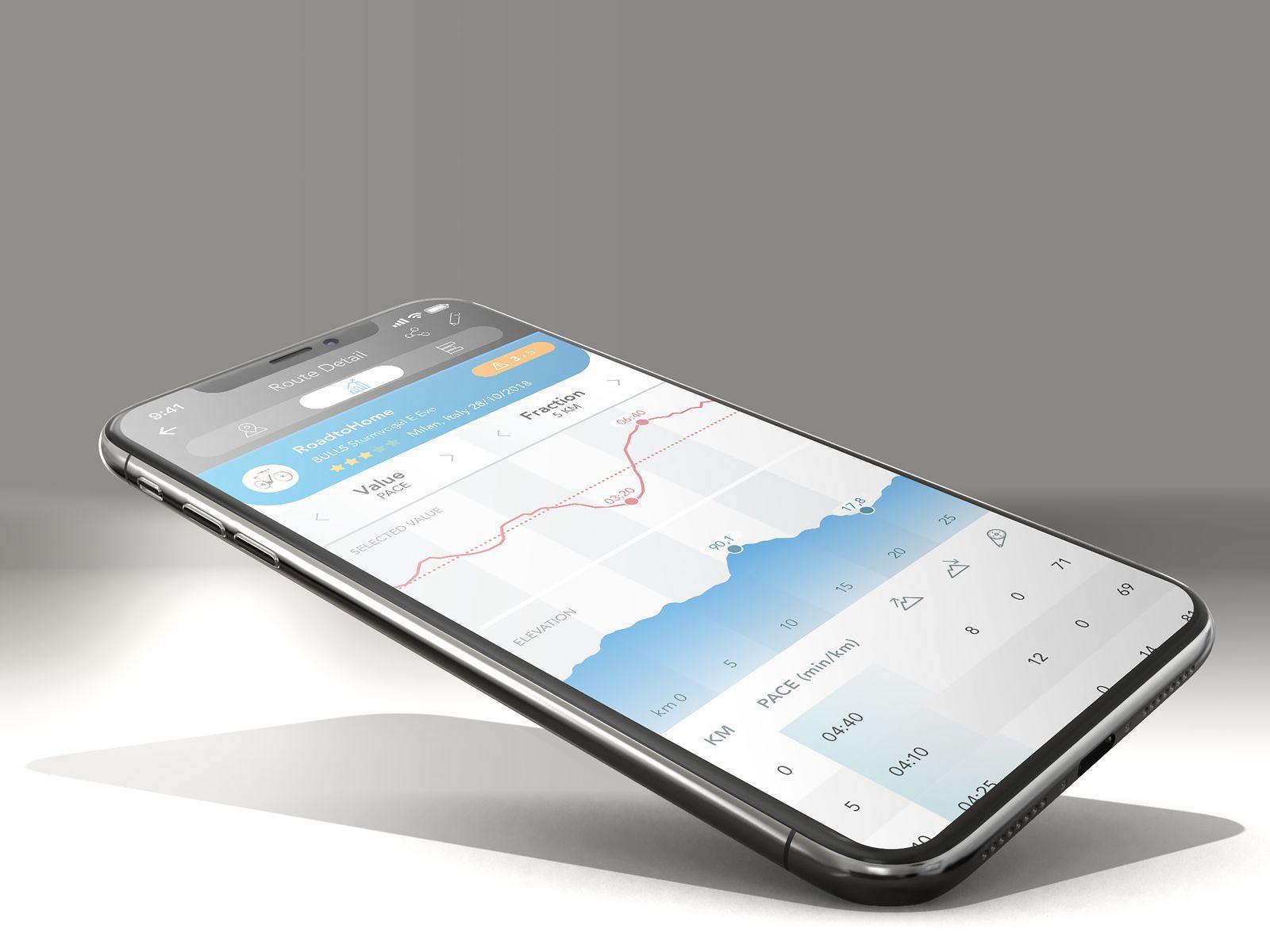 Datenverwertung der Fahrradtour auf dem Handy