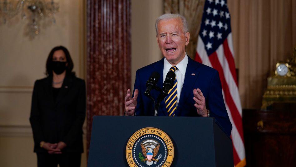 Joe Biden bei seiner ersten außenpolitischen Rede