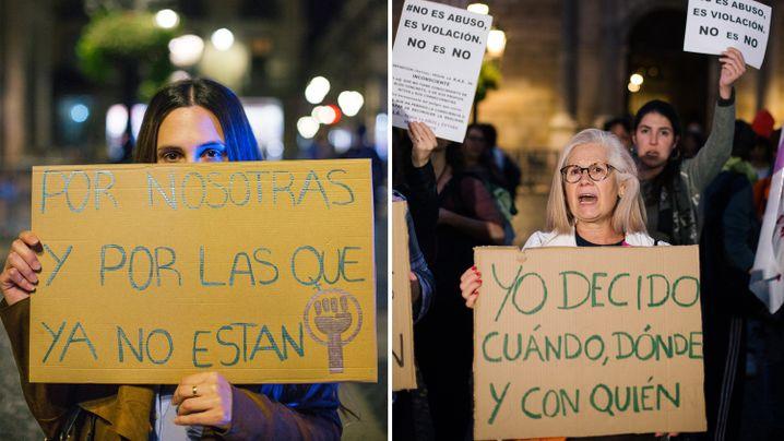 """""""Für uns und für diejenigen, die nicht mehr da sind"""": Patricia Martínez (links) demonstriert mit Hunderten anderen Frauen in Barcelona"""