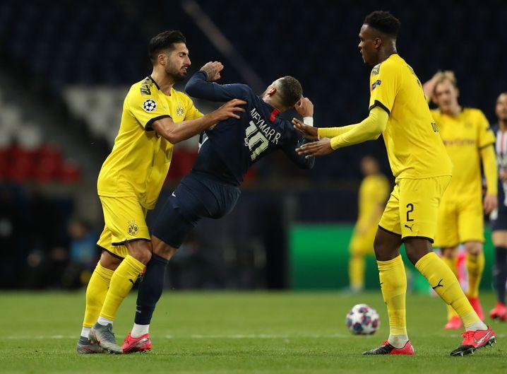 Emre Can sah für diesen Schubser gegen Neymar Rot