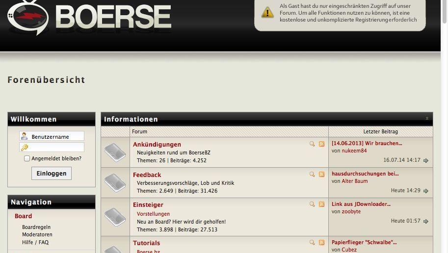 Forum für Links: Boerse.bz war Anlaufpunkt für illegale Kopien
