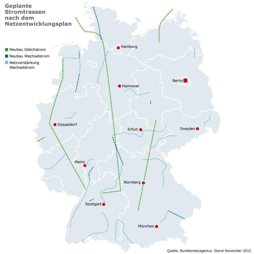Grafik - Karte Deutschland - Geplante Stromtrassen nach dem Netzentwicklungsplan - November 2012