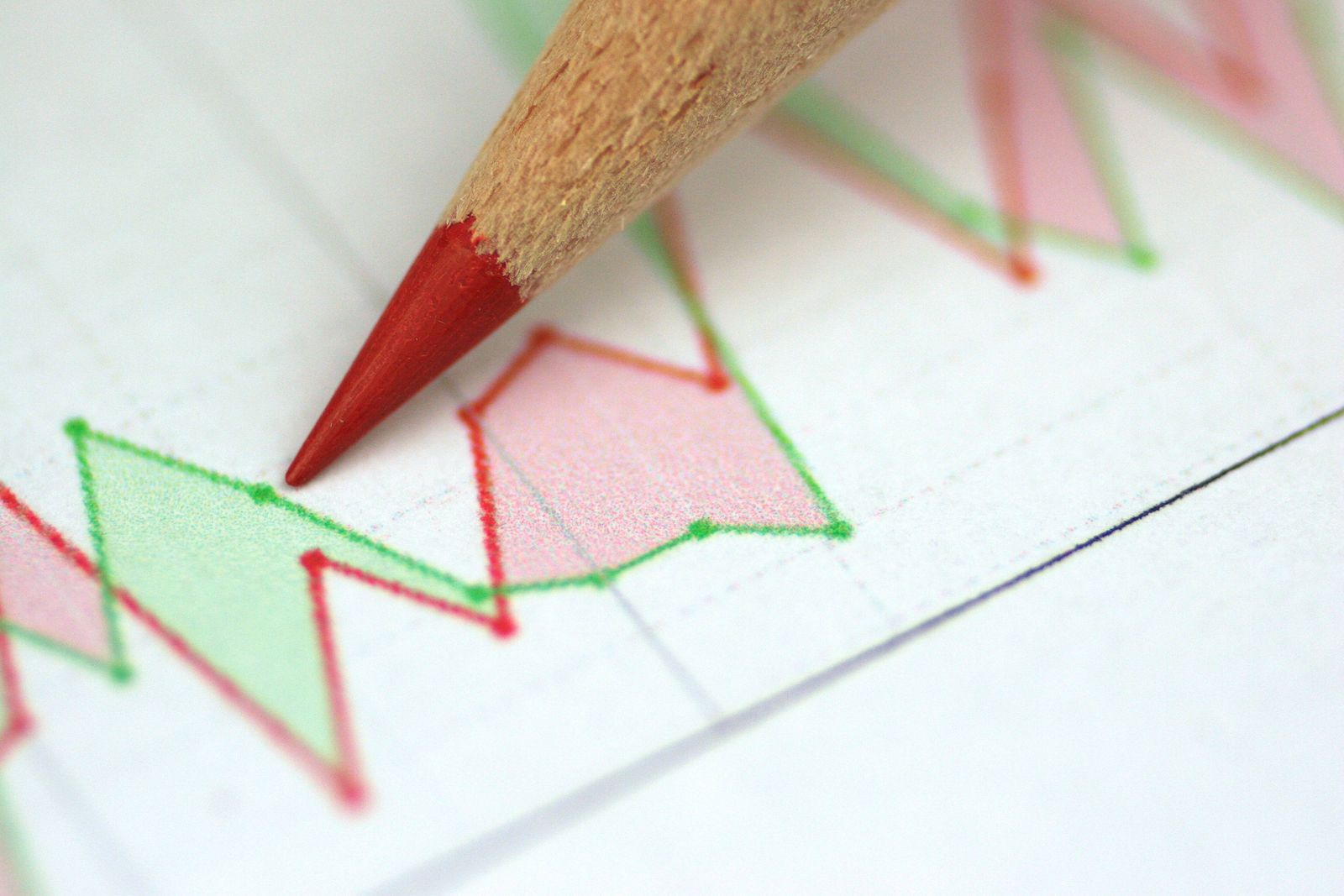 Aktienkurse mit Rotstift share price with red pencil BLWS201867