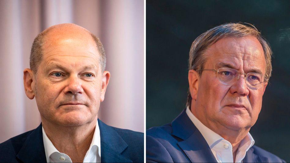 Wer schafft es ins Kanzleramt? Die Konkurrenten Olaf Scholz (SPD, l.) und Armin Laschet (CDU)
