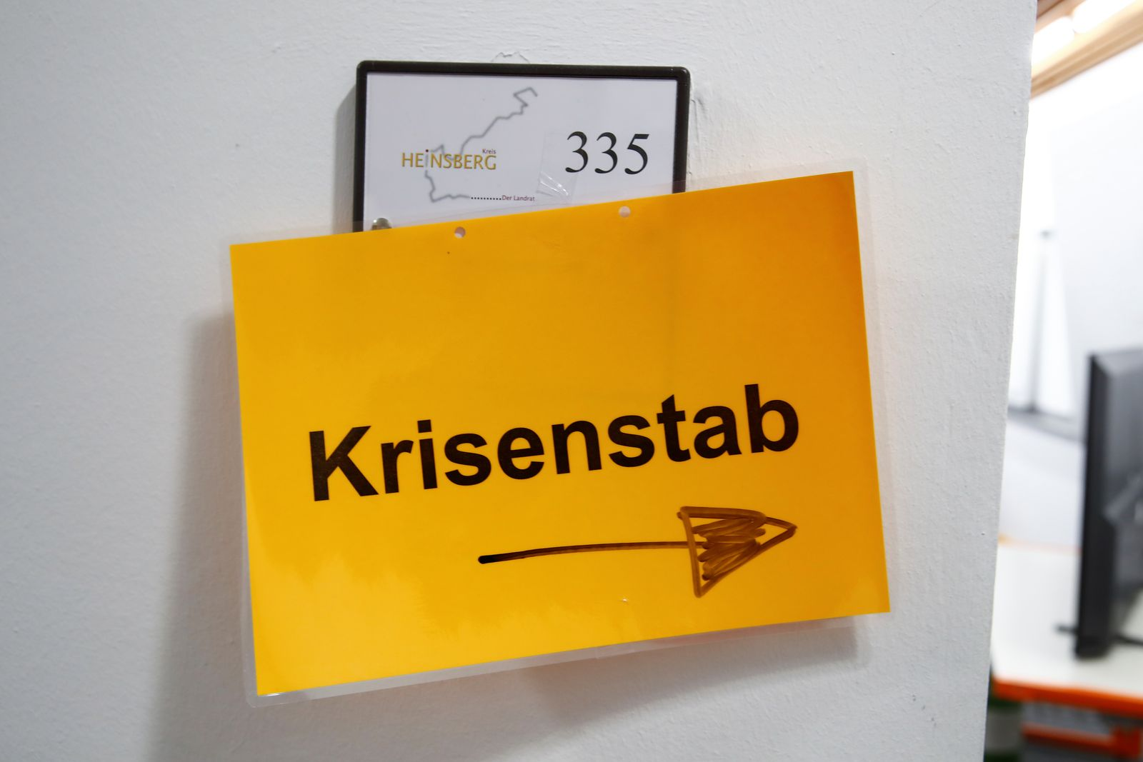 Coronavirus crisis management group in the western German district of Heinsberg near Aachen