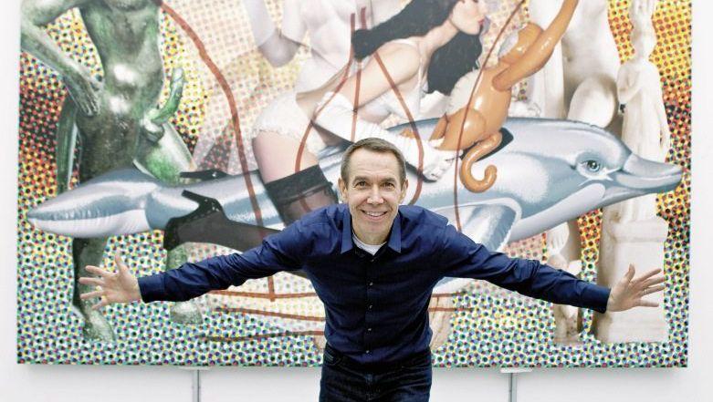 """Star Koons in seinem New Yorker Atelier vor einem Bild aus der Serie »Antiquity"""": Verneigung vor sich selbst"""