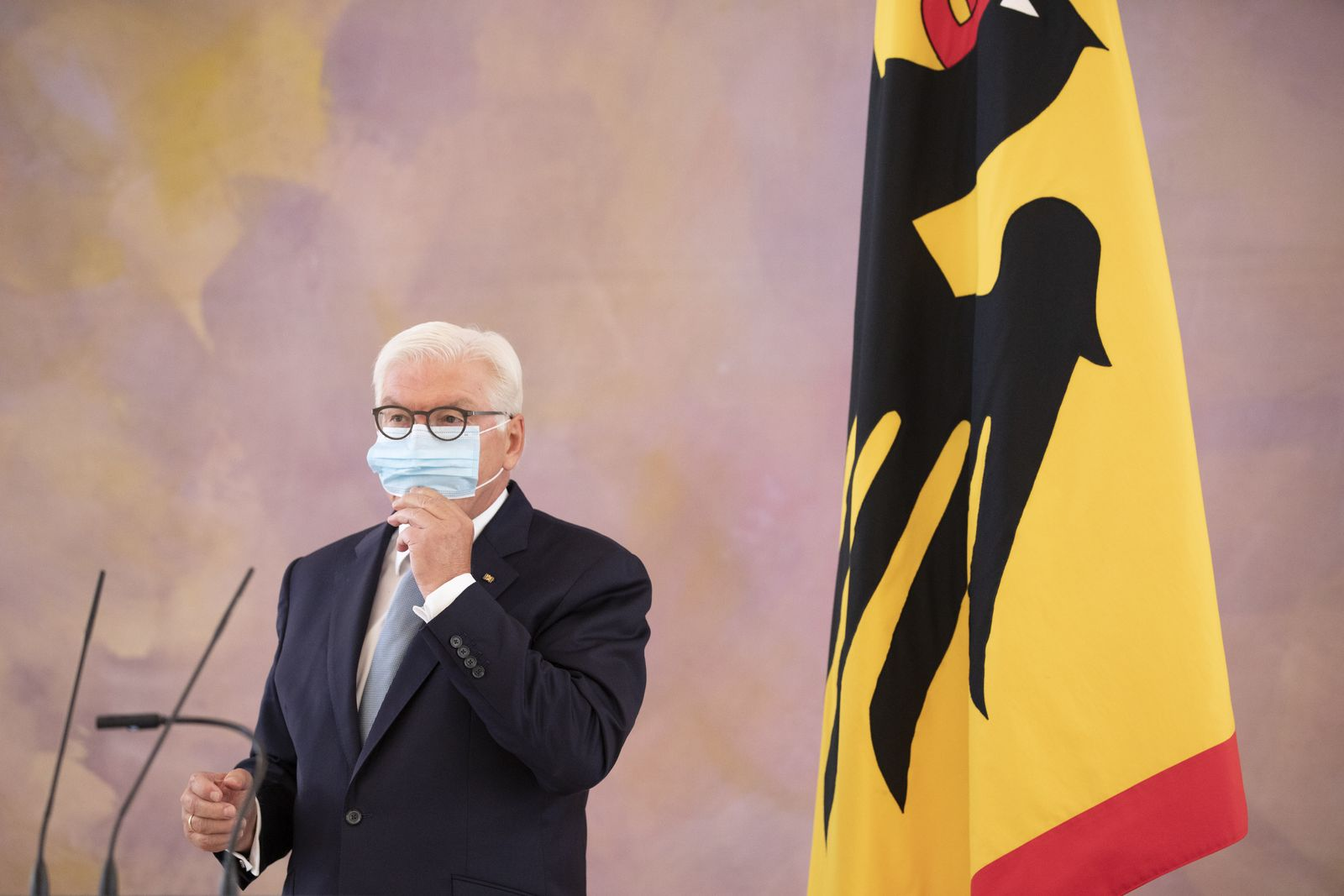 President Steinmeier Meets With Police Who Deployed At Coronavirus Protest