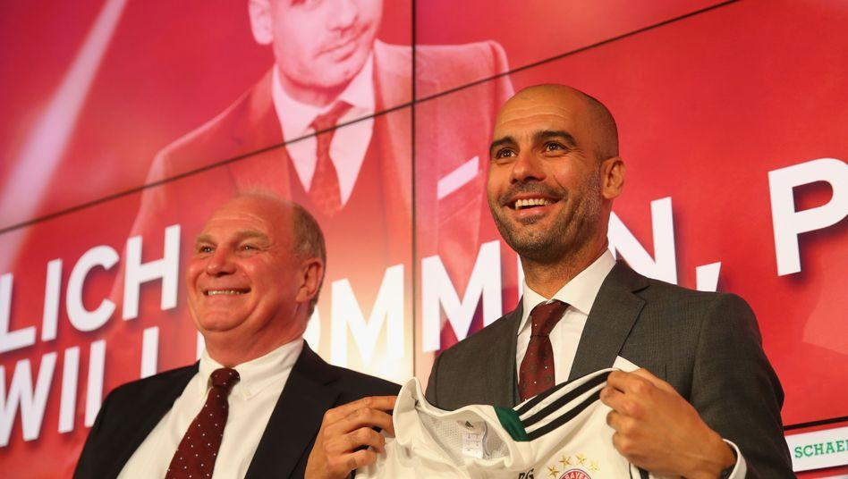 Trainer Guardiola (r.): Vorstellung bei Bayern München