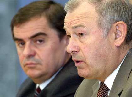 CDU-Ministerpräsident Müller, CSU-Minister Beckstein: Gelächter in der Bundestagsfraktion