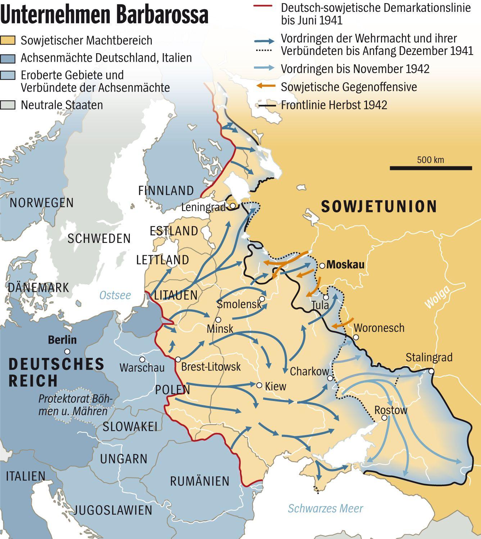 Grafik Karte - Unternehmen Barbarossa (oberer Teil der Ursprungsgrafik)